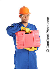 asian worker complete with personal protective equipment and tool box ready to work on safety concept