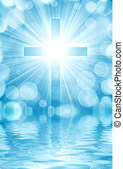 glowing cross on a light background, with radial rays of...