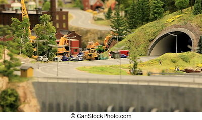 toy truck on the road - toy truck on the road in the town of...