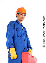 asian worker complete with personal protective equipment and...