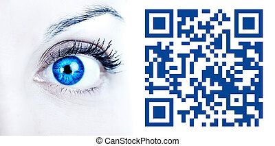 Eye with barcode. Isolated on white background.