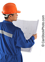 young asian engineer with coverall and drawings standing isolated on white background