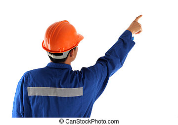 Back of asia worker man pointing up isolated on white background