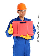 asian worker with tool box and thumb up ready to work