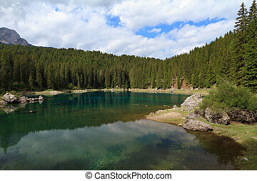Carezza lake, Italy - Carezza is a famous small lake in...