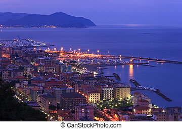 Chiavari, Italy - night scene in Chiavari, beautiful town in...