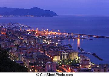 Chiavari, Italy - night scene in Chiavari, beautiful town in...