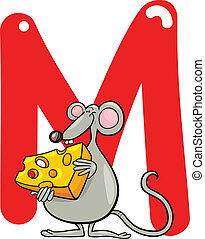 M for mouse - cartoon illustration of M letter for mouse