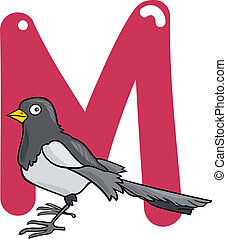 M for magpie - cartoon illustration of M letter for magpie