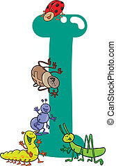I for insects - cartoon illustration of I letter for insects