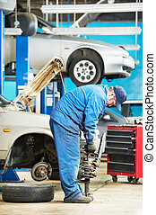 machanic repairman at carriage spring adjustment - mechanic...