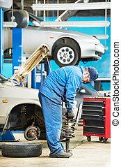 machanic repairman at carriage spring adjustment