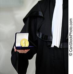 abogado, Llevando, bata, holdong, Justicia, meda