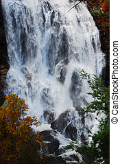 Bottom of Whitewater Falls - The water pounding against the...