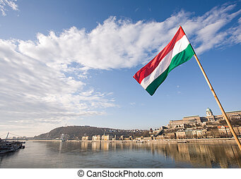The Hungarian flag over river Danube.