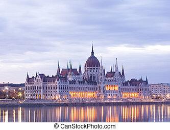 The Hungarian parliamtn at early dawn.