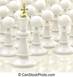 Chess light background: king and pawns