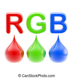 RGB color scheme: three drops isolated on white