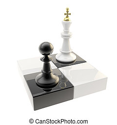 Chess icon illustration of pawn and king - Chess icon glossy...