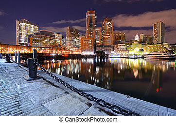 Boston Harbor - Financial District of Boston, Massachusetts...