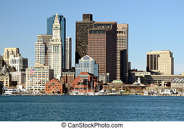 Boston Skyline - Financial District of Boston, Massachusetts...
