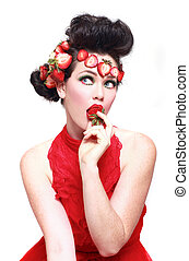 Gorgeous Woman Wearing Strawberries in her Hair - Beautiful...