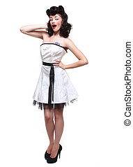 Pin Up Style Girl in Studio - Beautiful Pin Up Style Girl in...