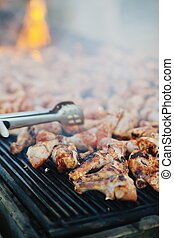 Barbecue with chicken grill - Barbecue with chicken on...