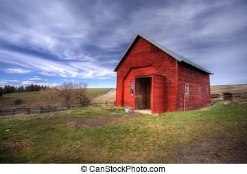 Red shed, green grass, blue sky - An old red shed on a farm...