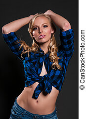 Blonde - Blue eyed blonde in a plaid shirt and denim shorts