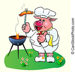 Pig Chef. - Pig chef prepares sausages on the barbecue....
