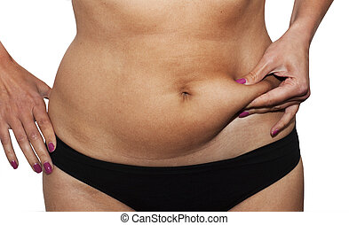 Womans fingers measuring her belly fat