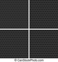 Seamless black metal background - Set of four seamless black...