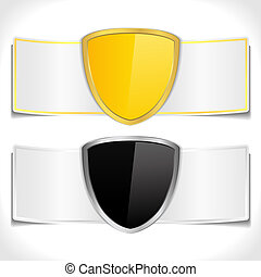 Banners with golden and black shields, vector eps10...