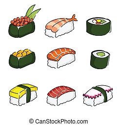 Sushi icons - A vector illustration of different sushi icons