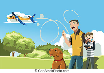 Father and son playing - A vector illustration of a father...