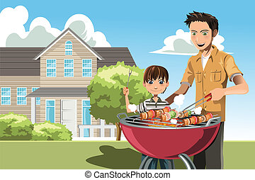 Father and son doing barbecue - A vector illustration of a...