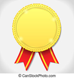 Golden medal with ribbon, vector eps10 illustration