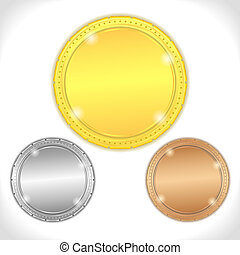 Golden, silver and bronze medals