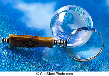 Magnifying glass - Travelling, magnifying glass and globe