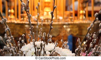 Wax candles in the church