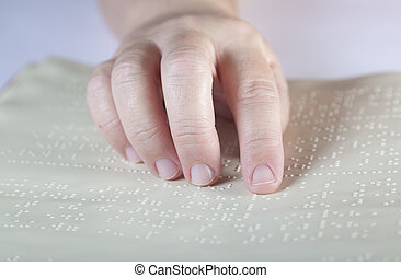 Braille method - Blind reading text in braille language