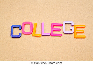 College in colorful toy letters on paper background