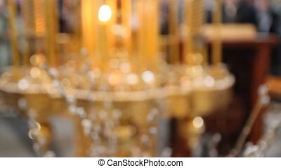 Wax candles in the church. The Russian Orthodox Church