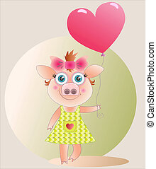 piglet - A pig-girl with a balloon