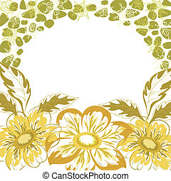 Floral background, dahlia yellow and green flowers and...