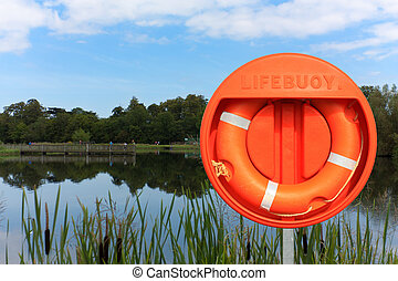 Lifebuoy and fish pond against a blue sky