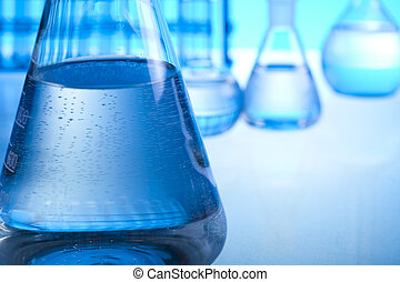 Laboratory requirements     - Test tubes on blue background