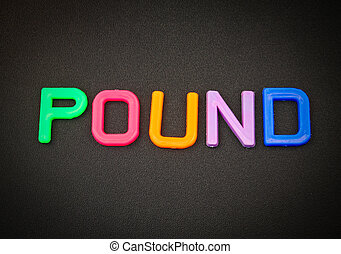 Pound in colorful toy letters on black background