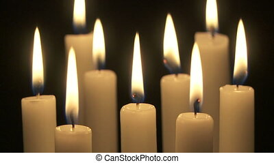 Close up of group of candles